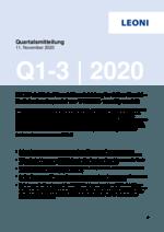 Quartalsmitteilung Q1-3 2020