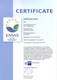 EMAS Certificate of registration for LEONI Draht GmbH
