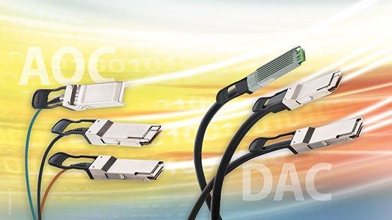 DACs und AOCs von Leoni sind energie-effiziente, latenzarme und hot-plugfähige Verbindungen für 10 bis 400 Gbit/s-Anwendungen.