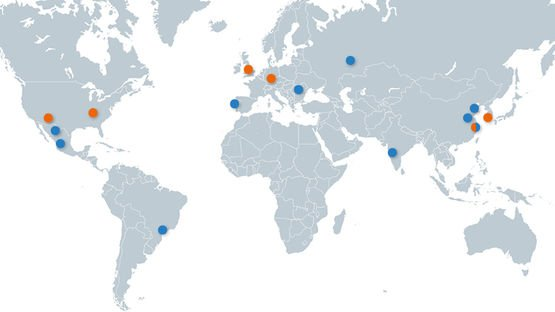 Global network of the CV business unit